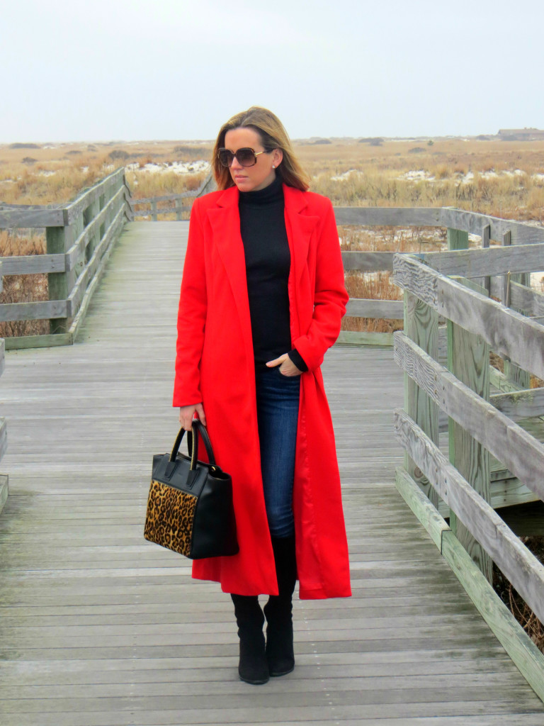 Long Red Coat - taffeta and tulips